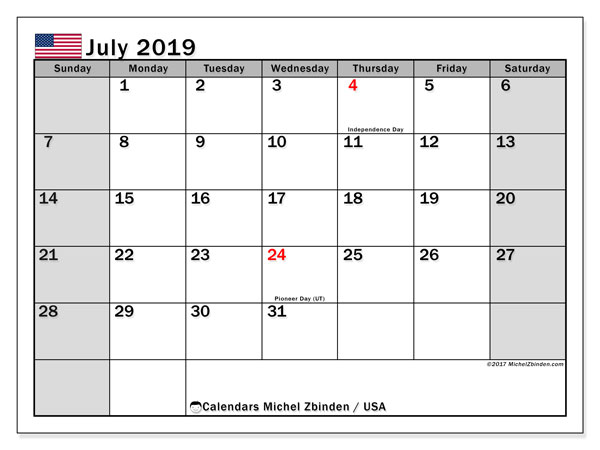 July 2019 Calendar, with the holidays of the USA. Holidays calendar to print free.
