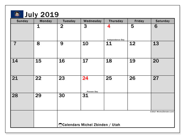 July 2019 Calendar, with the holidays of Utah. Free printable calendar with public holidays.