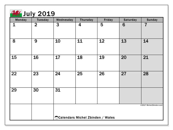 Calendar July 2019, with the holidays of Wales. Calendar for the month to print free.