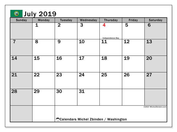 July 2019 Calendar, with the holidays of Washington. Free printable calendar with public holidays.