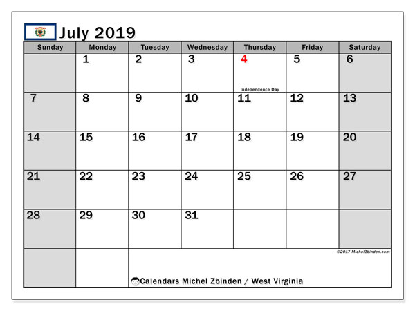 July 2019 Calendar, with the holidays of West Virginia. Holidays calendar to print free.