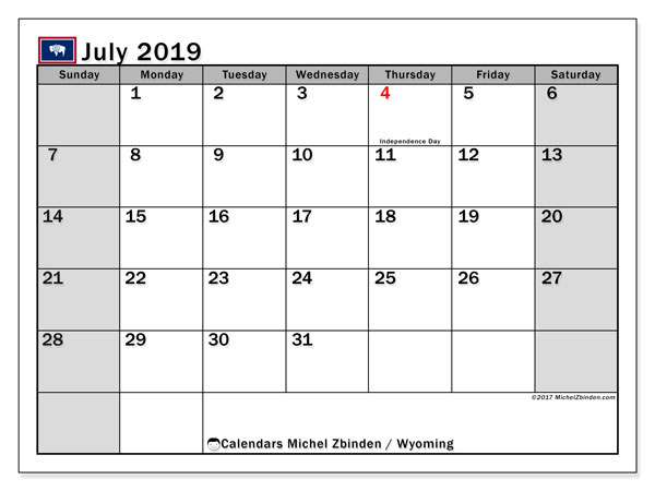 July 2019 Calendar, with the holidays of Wyoming. Holidays calendar to print free.