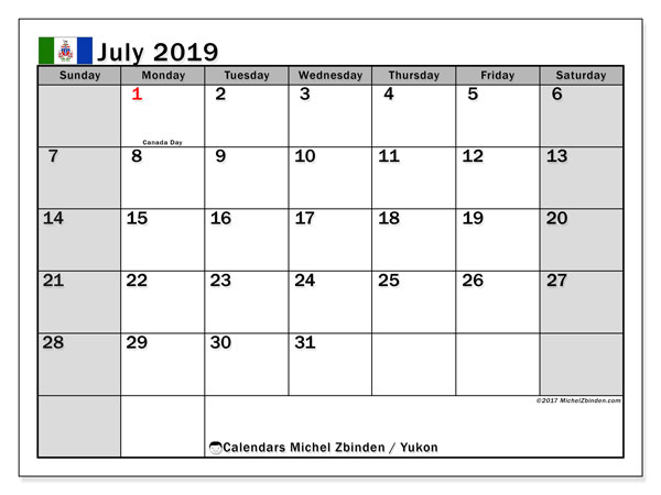 Calendar July 2019, with the holidays of Yukon. Free printable monthly planner.