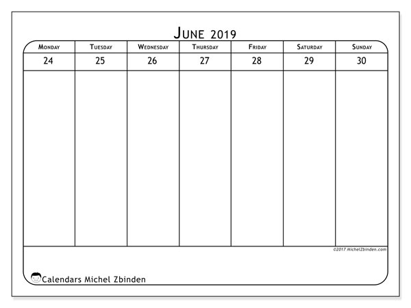 June 2019 Calendar, 43-5MS. Free calendar to print.