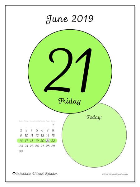 June 2019 Calendar, 45-21SS. Calendar for the day to print free.