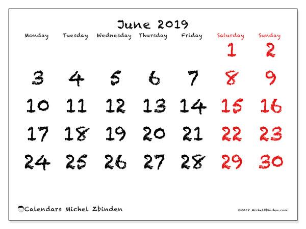Calendar  June 2019, 46MS
