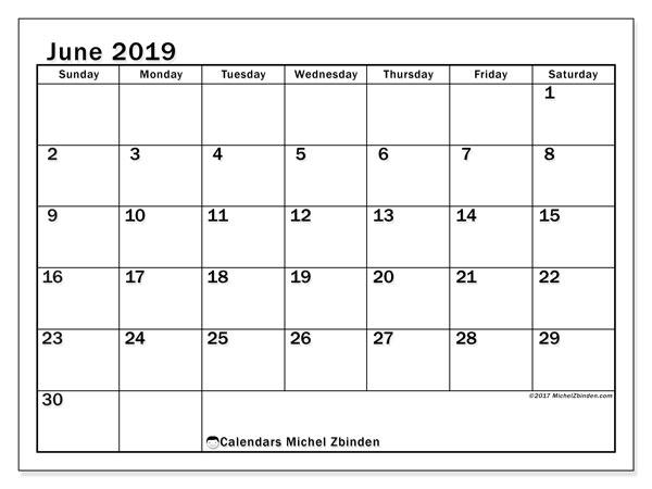 Calendar  June 2019, 50SS