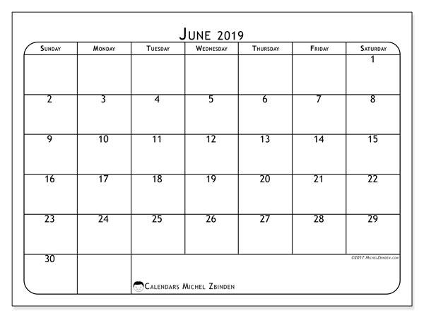 Calendar  June 2019, 51SS