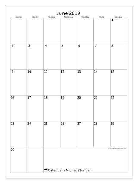 Calendar  June 2019, 52SS