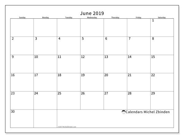 June 2019 Calendar (53SS) - Michel Zbinden EN