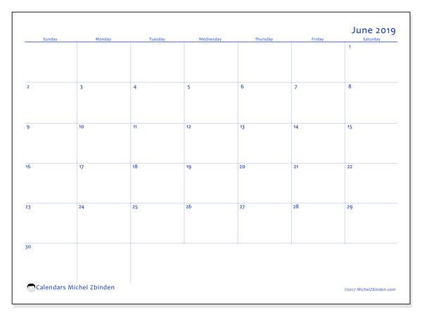 June 2019 Calendar, 55SS. Bullet journal to print free.