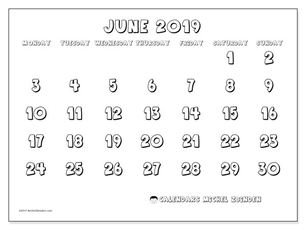 Calendar  June 2019, 56MS