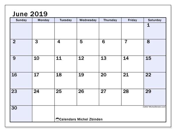 Calendar  June 2019, 57SS