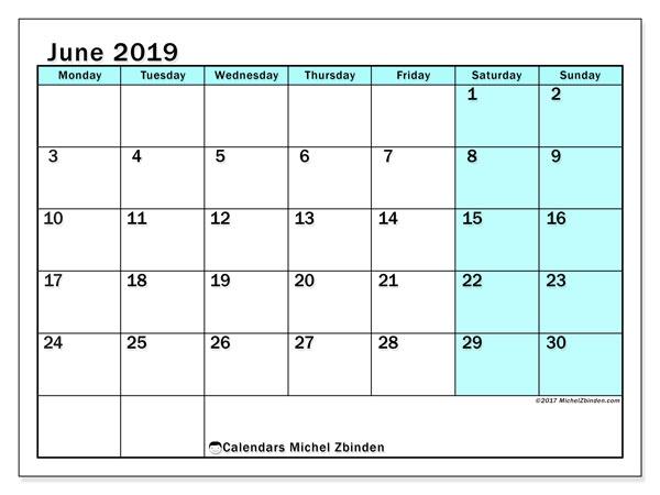 Calendar  June 2019, 59MS