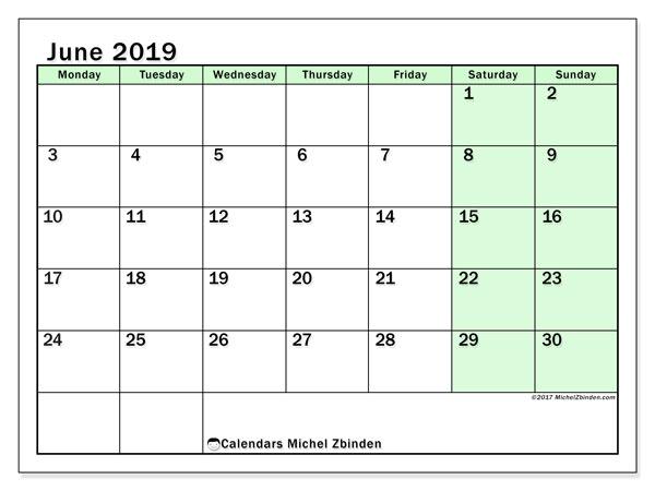 Calendar  June 2019, 60MS