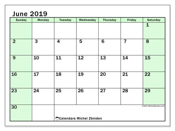 June 2019 Calendar, 60SS. Free printable monthly planner.
