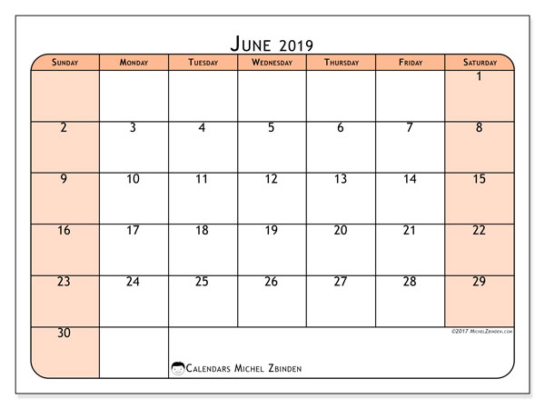 June 2019 Calendar, 61SS. Free printable monthly calendar.