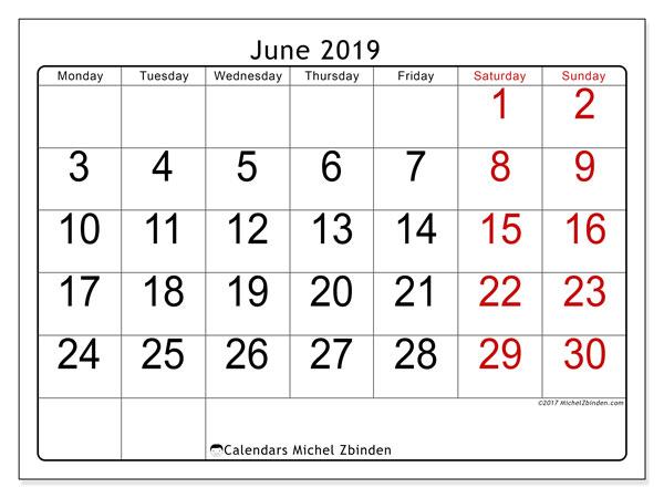 June 2019 Calendar (62MS) - Michel Zbinden EN