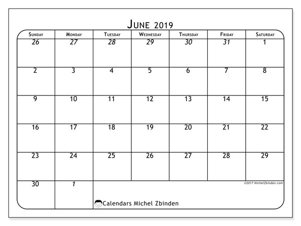 June 2019 Calendar, 67SS. Monthly planner to print free.