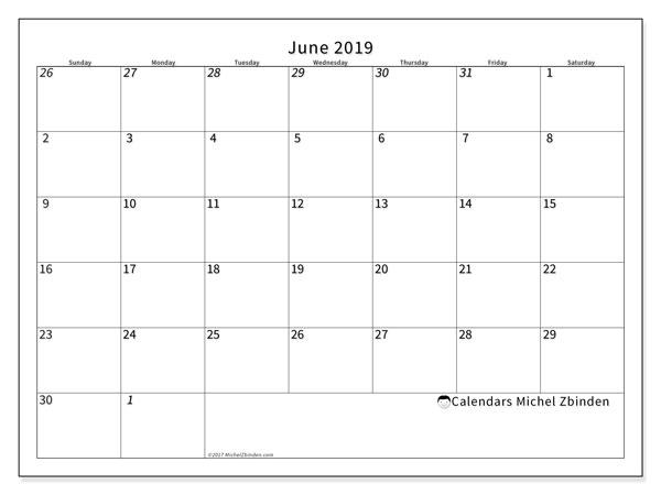 June 2019 Calendar, 70SS. Free printable monthly calendar.