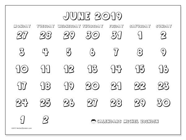 Calendar  June 2019, 71MS