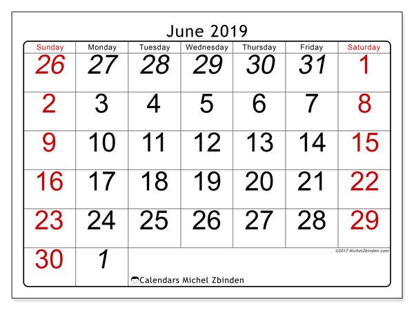 June 2019 Calendar, 72SS. Free printable monthly planner.
