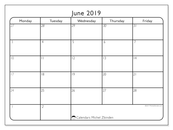 June 2019 Calendars (SS).  74MF.
