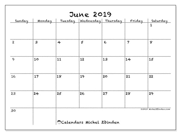 June 2019 Calendar, 77SS. Calendar for the month to print free.