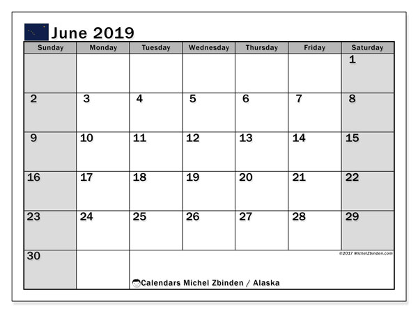 June 2019 Calendar, with the holidays of Alaska. Free printable calendar with public holidays.