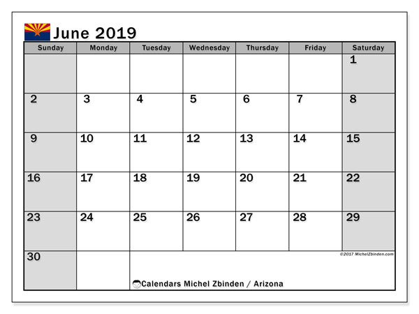 June 2019 Calendar, with the holidays of Arizona. Holidays calendar to print free.