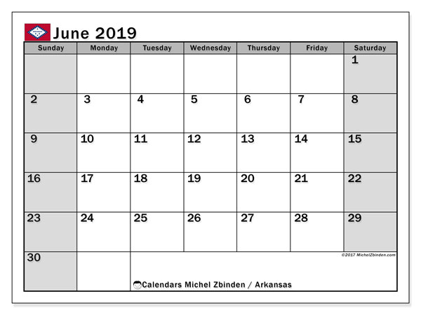June 2019 Calendar, with the holidays of Arkansas. Holidays calendar to print free.
