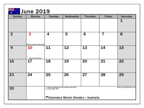 Calendar June 2019, with the holidays of Australia. Free printable calendar.