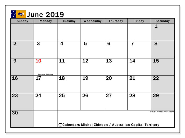 Calendar June 2019, with the holidays of Australian Capital Territory. Monthly planner to print free.