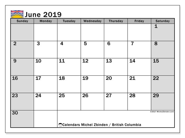 Calendar British Columbia, June 2019