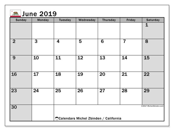 June 2019 Calendar, with the holidays of California. Holidays calendar to print free.
