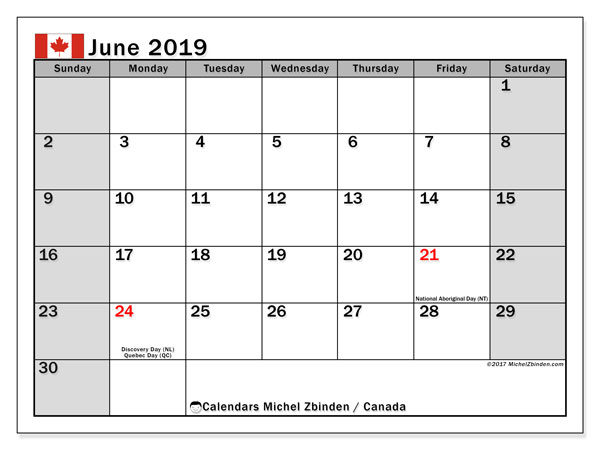 Calendar June 2019, with the holidays of Canada. Monthly calendar to print free.