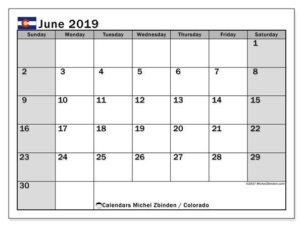June 2019 Calendar, with the holidays of Colorado. Free printable calendar with public holidays.