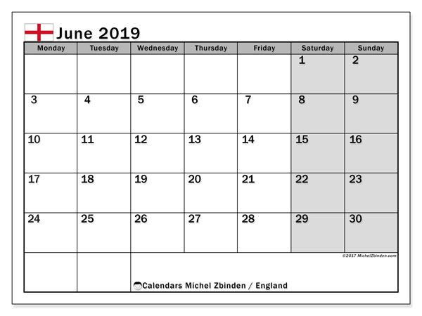 June 2019 Calendar, with the holidays of England. Free printable calendar with public holidays.