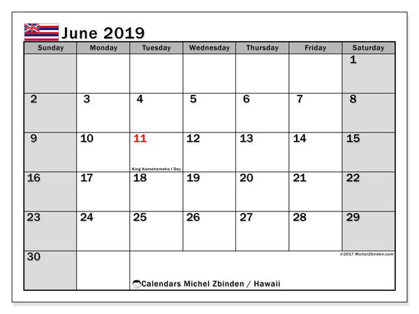 photograph regarding Free Printable June Calendar identified as June 2019 Calendar, Hawaii (United states of america) - Michel Zbinden EN