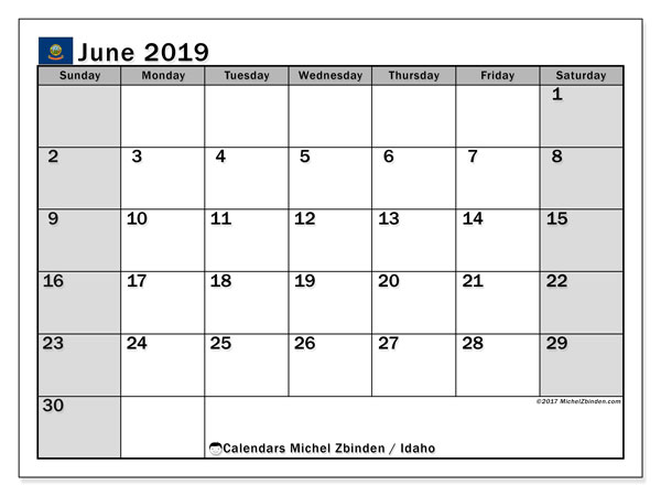 June 2019 Calendar, with the holidays of Idaho. Free printable calendar with public holidays.