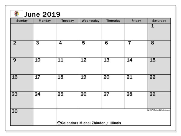 June 2019 Calendar, with the holidays of Illinois. Holidays calendar to print free.