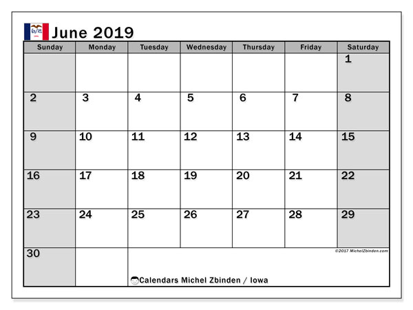 June 2019 Calendar, with the holidays of Iowa. Free printable calendar with public holidays.