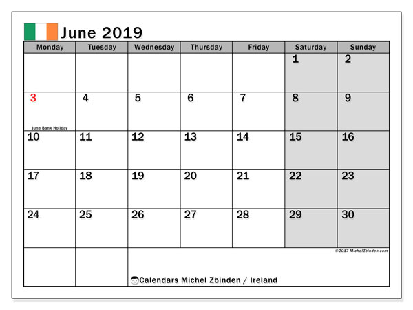 Calendar June 2019, with the holidays of Ireland. Free calendar to print.