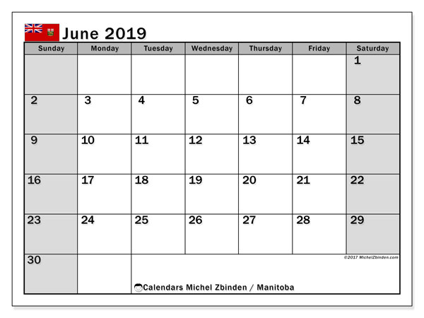 Calendar June 2019, with the holidays of Manitoba. Free printable bullet journal.