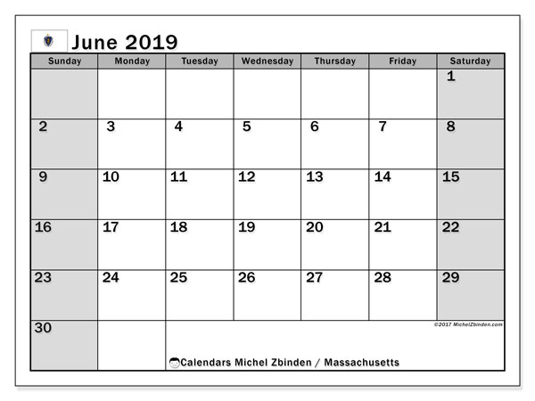 June 2019 Calendar, with the holidays of Massachusetts. Holidays calendar to print free.