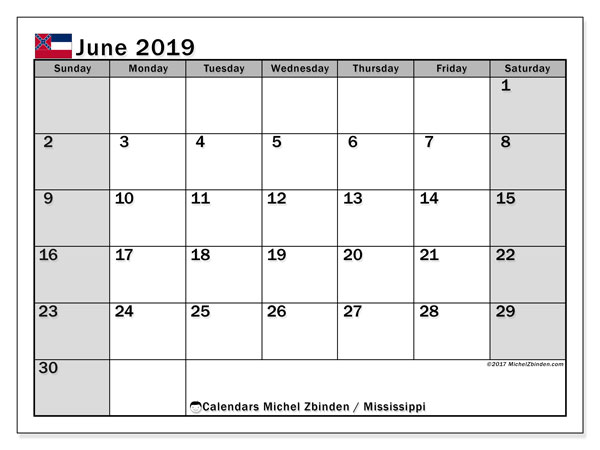 June 2019 Calendar, with the Mississippi holidays. Free printable calendar with public holidays.