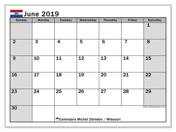 June 2019 Calendar, with the holidays of Missouri. Free printable calendar with public holidays.