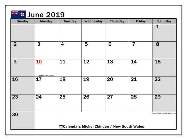Calendar June 2019, with the holidays of New South Wales. Calendar for the month to print free.