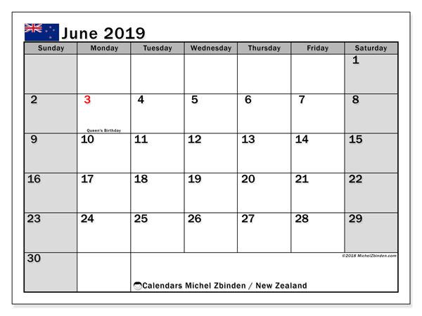Calendar  June 2019, New Zealand
