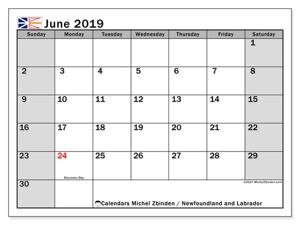 Calendar Newfoundland and Labrador, June 2019